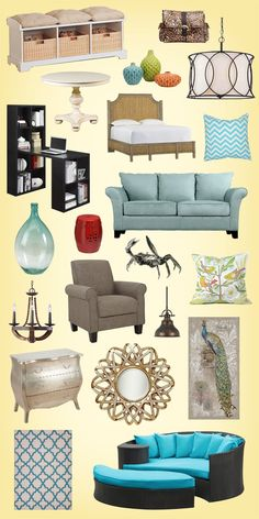 Save up to 70% OFF on every style of furniture and décor at Wayfair.com LOVE the black and blue huge chair at the bottom!!