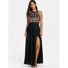 Sleeveless Embroidery Evening Dress -