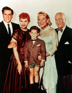 """The cast of """"I Love Lucy"""" posing together. L-R: Desi Arnaz, Lucille Ball, Keith Thibodeaux, Vivian Vance, and William Frawley."""