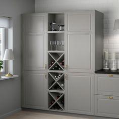 Liquor Cabinet Ikea, Kitchen Cabinet Shelves, Open Kitchen Cabinets, Wine Storage Cabinets, Pantry Cupboard, Wine Shelves, Kitchen Cabinet Design, Tall Cabinet Storage, Locker Storage