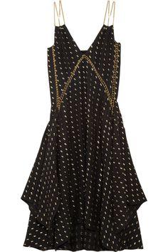 ChloéEmbellished herringbone silk-blend dress