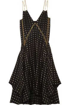 ChloéEmbellished herringbone silk-blend dress