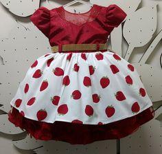 vestido moranguinho, Vestido Infantil moranguinho, vestido da moranguinho, vestido infantil de festa, Vestido Infantil temático, vestido Infantil, vestido infantil de personagem, vestido moranguinho Luxo