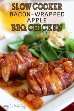 Slow Cooker Bacon-Wrapped Apple Chicken! 4 boneless, skinless chicken breasts; 1 cup bbq sauce; 1/4 cup brown sugar; 1/8 cup lemon juice; 5 small apples, peeled  chopped; 8 slices bacon. Combine bbq sauce, sugar, lemon juice  apple in bowl. Wrap each breast w/2 slices bacon  place in greased crockpot. Pour sauce mixture over breasts. Cook on low 6-8 hrs or until chicken is done. Enjoy! #Home