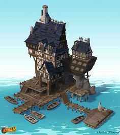 A lone house located in the ocean, possibly remote? I wonder who resides inside.