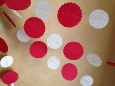 Red Scalloped & Silver Glitter Paper Garland Christmas Party Decor, Photo Prop, Christmas Tree and Holiday Decor, Classroom Decor, Etc on Etsy, $9.50