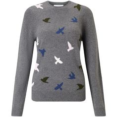 Collection WEEKEND by John Lewis Mini Bird Intarsia Jumper, Grey (245 RON) ❤ liked on Polyvore featuring tops, sweaters, round neck sweater, grey jumper, round neck top, gray sweater and jumpers sweaters