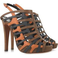Pierre Hardy - Cutout Leather Sandals - Net-a-Porter Pierre Hardy, Designer Sandals, Brown Shoe, Discount Designer Clothes, Shoe Closet, Leather Sandals, Women's Sandals, Me Too Shoes, Buy Shoes