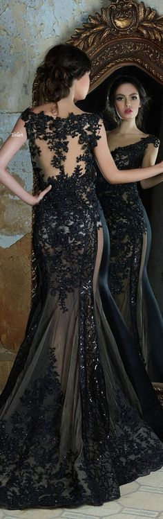 Glamorous & Elegant Black Evening Gown / Elegancia y glamour Classy Outfits, Cool Outfits, Beautiful Gowns, Dream Dress, Nice Dresses, Marie, Evening Dresses, Dress Up, Lingerie