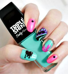 Our nail art guru gives you the step-by-step guide to creating these gorgeous graffiti nails #nails #nailart