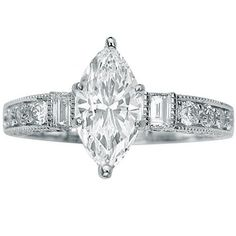 Amazon.com: 1.58 Carat Marquise Cut / Shape 14K White Gold Gorgeous Prong Set Round And Half Bezel Baguette Diamond Engagement Ring ( J Colo...