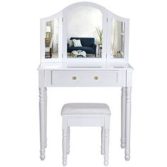 Songmics Coiffeuse meuble blanc-table de maquillage commode avec 3 miroirs rabattables et tabouret 136 x 80 x 40 cm RDT33W: Fruit d'un…
