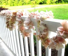 Fabric Flower Garland $15/ft. Custom made to your wedding color scheme.