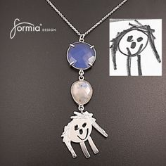 couture necklace featuring handmade charm created from your child's drawing