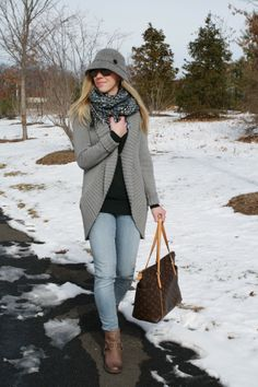 "Warm Me Up: cocoon cardigan, hunter green sweater, blue and green tweed scarf, gray cloche hat, light distressed denim, Frye ""Phillip Studded Harness"" boots, Louis Vuitton MM tote"