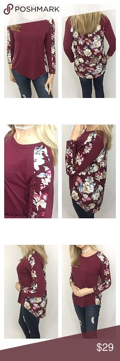 """Flowers & Wine Hi Low Tunic Top MLXL Stunning & Unique Floral Hi Low Wine Tunic Top. Poly Blend Soft & Stretchy Front & Arms. Floral back portion Polyester. Be right on trend all year long pairing these with jeans, leggings, capris or shorts. Wine, ivory, blue, green, pink & blush.   Medium Bust 34-36 Front Length 24"""" Back 28""""  Large  Bust 38-40 Front Length 25"""" Back 29""""  XL Bust 42-44 Front Length 26"""" Back 30"""" Tops"""