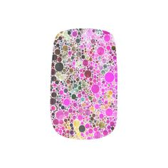 Bling Abstract Pattern Minx Nails Minx® Nail Art-A colorful design of circles of many sizes.  Several shades of pink yellow and green are shown in this design.