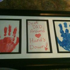 "Fathers day gift from my kids to their daddy! Like the idea of ""we walk in your shoes"" feet too."