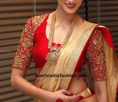 With a lot of brides still choosing to wear red on their special day, what are the interesting red bridal blouse designs? Wedding Saree Blouse Designs, Silk Saree Blouse Designs, Fancy Blouse Designs, Blouse Neck Designs, Blouse Patterns, Wedding Sarees, Mary Janes, Stylish Blouse Design, Red Saree