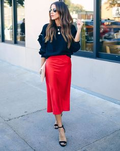 Silken Splendor Midi Skirt – Red The post Silken Splendor Midi Skirt – Red appeared first on ThealiceOnline. Red Skirt Outfits, Midi Skirt Outfit, Midi Flare Skirt, Satin Midi Skirt, Red Skirts, Silk Skirt, Selena, Comfortable Fashion, Fashion Outfits
