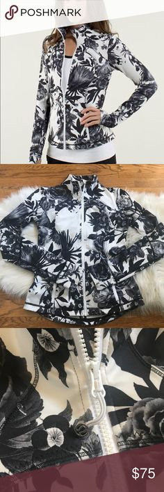 Lululemon Brisk Bloom Black floral jacket size 4 Lululemon Forme Jacket in Brisk Bloom. Size 4. Black and white floral design. Some marks/a bit dirty from wear on ends of sleeve cuffs. See photos. No trades.  Key features four-way stretch Luon™ fabric wicks sweat away  fold over the cozy Cuffins™ finger covers (cuff mittens - they're the best of both worlds) dropped hem gives you more coverage secure zipper pockets thumbholes help your sleeves stay  Fit + function designed for: yoga…