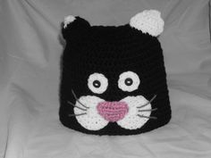 Crocheted beanie hat black and white cat by Jordisbundleofbeanies, $15.00