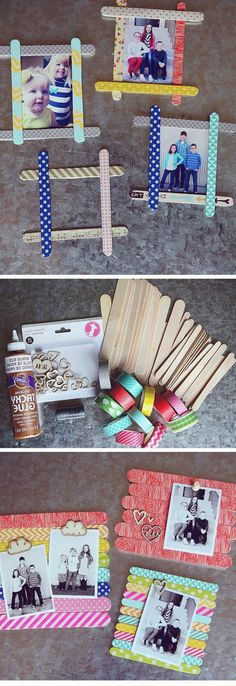 ▷ 1001 + Images for DIY Father's Day Gift Ideas including seven tutorials - Foto im Bilderrahmen, Fotogeschenk Vatertag Ideen zum Basteln mit Kindern, DIY, selbst gemacht auch - Kids Crafts, Craft Stick Crafts, Diy And Crafts, Diy Father's Day Gifts, Father's Day Diy, Fathers Day Gifts, Diy Y Manualidades, Diy For Kids, Christmas Crafts