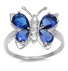 Butterfly Ring, Butterfly Jewelry, Blue Butterfly, Butterfly Park, Butterfly Design, Sterling Silver Rings, Silver Jewelry, Jewelry Case, Jewelry Rings