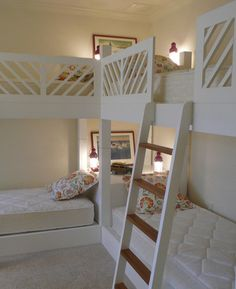 "quadruple bunk beds- great for a large family, or a sleepover room at grandma and grandpa's. I love the corner ""nightstand"" with lighting! - My-House-My-Home Corner Bunk Beds, Girls Bunk Beds, Bunk Beds With Stairs, Kid Beds, Bunk Beds For 3, Bed Rails, Loft Spaces, Living Spaces, Living Rooms"