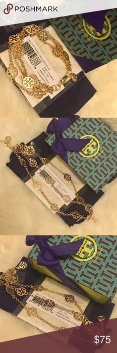 Tory Burch Triple Strand Bracelet 100% Authentic ☑ No box, No pouch. Comes with original packaging.  MSRP over $160 including tax.  No lowball. No trades. Tory Burch Jewelry Bracelets
