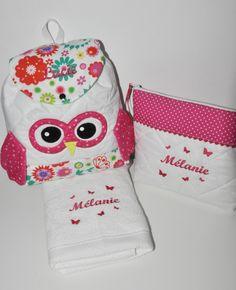Box cadeau:Trousse de toilette + serviette +sac à dos chouette personnalisées brodée pour naissance,noël,anniversaire,noel : Sacs enfants par lbm-creation