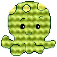 Octopus, free cross stitch patterns and charts - www.free-cross-stitch.rucniprace.cz