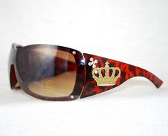 """Enchanting Jewelry Creations - """"Bling Christian Swarovski Crystal Cross and Crown Tortoise Shell Sunglasses, $18.00 (http://stores.enchantingjewelrycreations.com/bling-christian-crystal-cross-and-crown-tortoise-shell-sunglasses/)"""