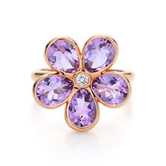 Tiffany Garden flower ring in 18k rose gold with amethysts and a diamond.