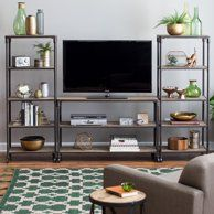 The Belham Living Franklin Reclaimed Wood Industrial Media Center has enough space for your library, entertainment center, and more! Home Living Room, Living Room Furniture, Living Room Decor, Living Spaces, Living Room Entertainment Center, Industrial Entertainment Center, Entertainment Wall, Classic Furniture, Rustic Furniture