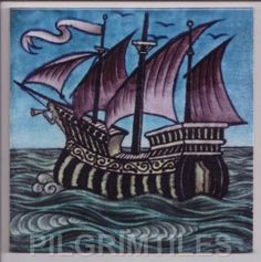 A William De Morgan stoneware tile decorated in colours with a three masted galleon and a turquoise sky, square Art Nouveau Tiles, Art Nouveau Design, Ceramic Wall Tiles, Tile Art, Mosaic Art, William Morris, Turquoise Tile, Victorian Tiles, China Painting