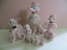 Pink Spaghetti Poodle Family of 5 by YaYasAttic on Etsy