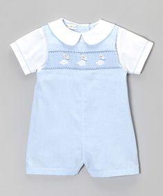 Blue Smocked Bunny Romper - Infant