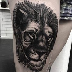Lion Thigh Tattoo by Parliament Tattoo Lion Tattoo On Thigh, Tribal Lion Tattoo, Insect Tattoo, Tattoo Inspiration, Cool Tattoos, Thighs, Animals, Amazing, Art
