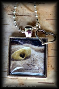 Love Always Finds a Way Photo Pendant with Ball and Chain Necklace and Key Charm $20