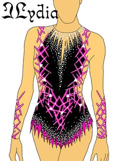 Competition Rhythmic gymnastic leotard design Techno Fuchsia