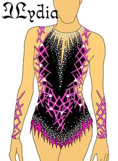 Competition Rhythmic gymnastic leotard design Techno Fuchsia
