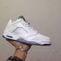 682db4a64e69 Nike Air Jordan 5 Retro Low GS White Grey Women Shoes AAA Wholesale Jordan  Shoes
