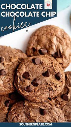 Brownie Desserts, Brownie Cookies, Yummy Cookies, Chocolate Chip Cookies, Homemade Chocolate, Chocolate Lovers, Chocolate Desserts, Chocolate Cake, Dessert Bars