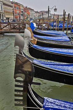 Gondolas in Winter, Venice. Our tips for 25 places to visit in Italy: http://www.europealacarte.co.uk/blog/2012/01/12/what-to-do-in-italy/