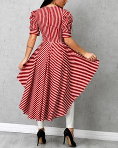 Blusa de rayas con detalle de bowknot Trend Fashion, Look Fashion, Fashion Outfits, African Fashion Dresses, African Dress, Mode Hijab, Indian Designer Wear, Stylish Dresses, Pattern Fashion