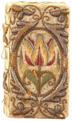 Embroidered book cover, tulip.