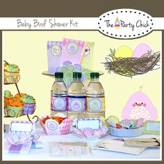 Baby Bird printable baby shower kit with editable text.