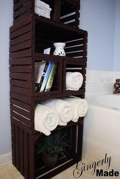 wood crate linen closet