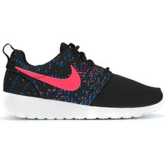 Nike 'Roshe One' printed sneakers ($140) ❤ liked on Polyvore featuring shoes, sneakers, black, round toe sneakers, laced sneakers, black lace up shoes, black sneakers and nike sneakers